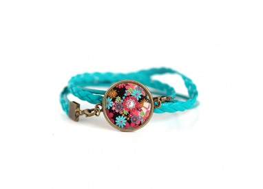 Cuff bracelet, turquoise leather, red and turquoise Flowered