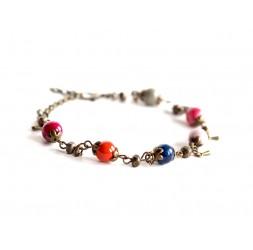 Bracelet, natural stone, Agate multicolor, bronze