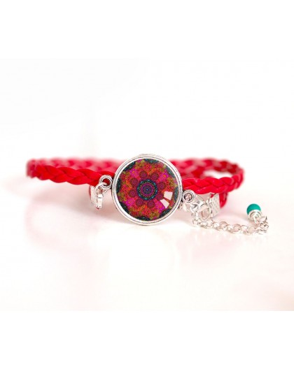 Woman bracelet, red cord, red mandala cabochon and fushia