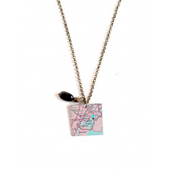 Necklace, map, original gift, square format
