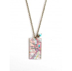 Necklace, map, original gift, large rectangle size