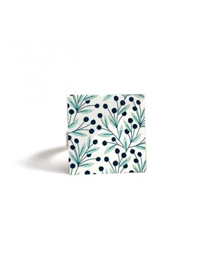 Square Ring, Gui large leaf, light green, dark green, bronze