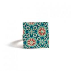Ring Square, Ispirazione marocchina truquoise rosso, mosaico, bronzo