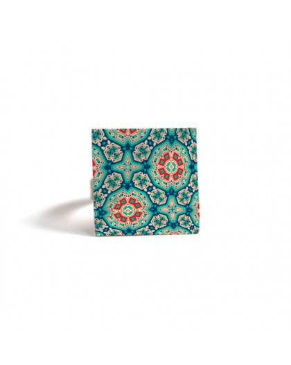 Square Ring, Inspiration Moroccan truquoise red, mosaic, bronze