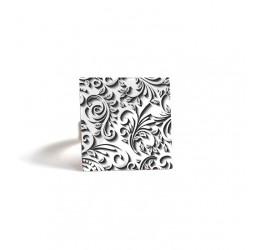 Bague carrée, Arabesque, noire et blanche, bronze