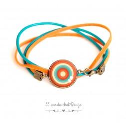 Bracelet suedine et cuir, cabochon orange et turquoise