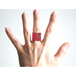 Square Ring, Coqulicots red, green and bronze