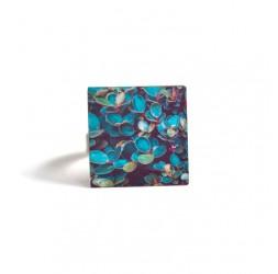 Bague carrée, Nature, feuillage vert bleu, bronze