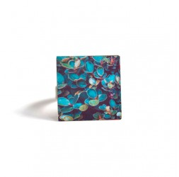 Square Ring, Nature, blue green foliage, bronze