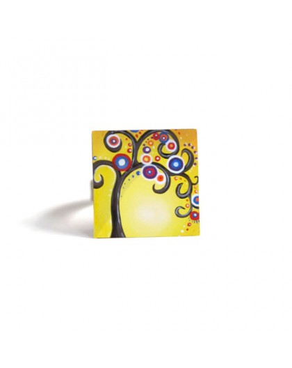 Square Ring, Tree of Life, yellow, multicolor, bronze