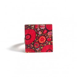 Square Ring, Inspiration Hindu, red and pink flowers, bronze