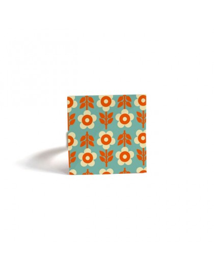 Square Ring, Inspiration Seventies, year 70, Flowers orange and turquoise, bronze