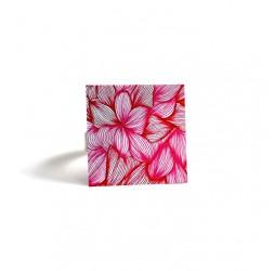 Bague carrée, Fleurs, Rose et fushia, bronze