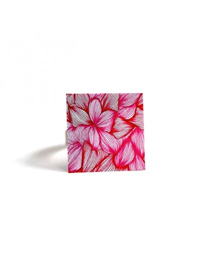 Square Ring, Flowers, pink and fuchsia, bronze