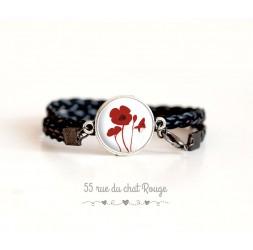 Black imitation leather cuff bracelet, Red poppies