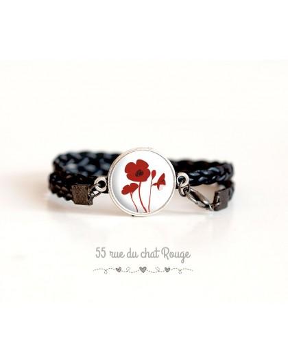 Bracelet manchette simili cuir noir, Coquelicots rouge