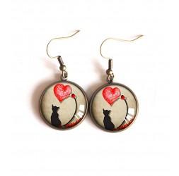 Ohrringe Ohrringe Cabochon, Kleine Katze, kleine rote Herzen, Bronze