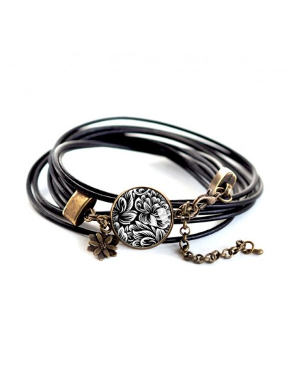 Cabochon bracelet, black leather, black and white flowers, bronze