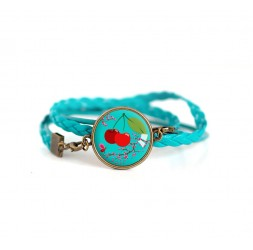 Turquoise, cherry, red and turquoise leather cuff bracelet