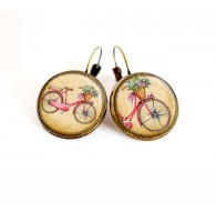 earrings cabochon, small bicycle, spring, beige, fushia, bronze