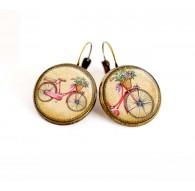 Orecchini cabochon, piccola bicicletta, primavera, beige, fushia, bronzo