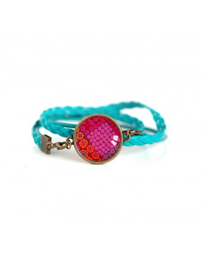 Turquoise, red and fushia leather cuff bracelet, Orient