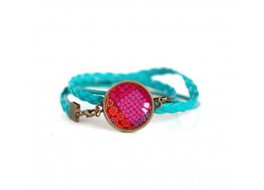 Bracelet manchette cuir turquoise, rouge et fushia, Orient