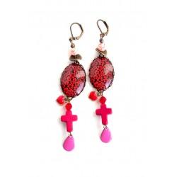 Boucles d'oreilles, Cabochon 18x25 mm, Fleuri rouge et rose