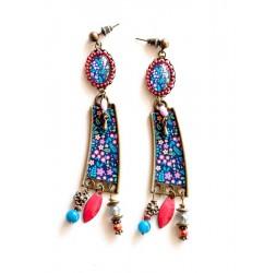 Boucles d'oreilles Longs Pendants, Rose Bleu pastel et roue