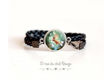 Black imitation leather cuff bracelet, little fairy cabochon