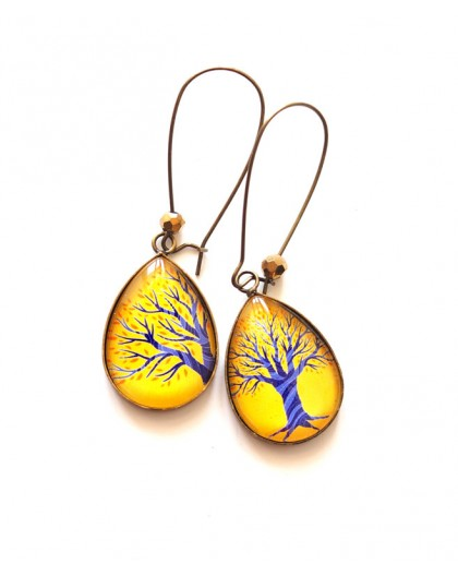 cabochon earrings, drops, Tree of Life