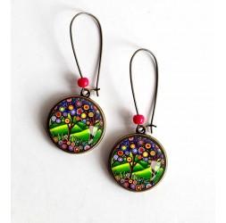 Earrings, Tree of Life, intense green, jewelery for women, bronze