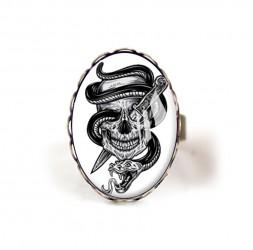 Bague cabochon Skull, tête de mort, Gothique noir et blanc