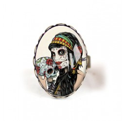 Cabochon ring, La muerta, Mexican inspiration
