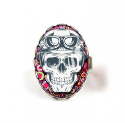 Cabochon ring, Skull, Red fuchsia floral