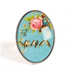 Cabochon ring, Les Hirondelles in spring, blue and pastel pink