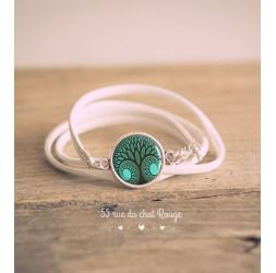 Bracelet manchette simili cuir blanc, Cabochon Arbre de vie, Vert