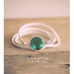 Pulsera de cuero imitación blanco, Cabujón Árbol de la vida, Verde