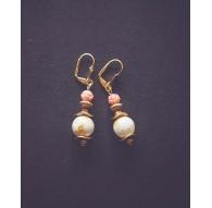 Boucles d'oreilles pendantes, Rose dorée 1900