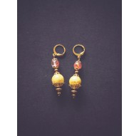 Gold-plated earrings, Pendant, Watermelon and yellow
