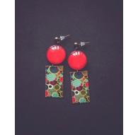 Boucles d'oreilles, Style Seventies, 70's, vert d'eau et rouge