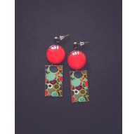 Earrings, Seventies style, 70's, water green and red