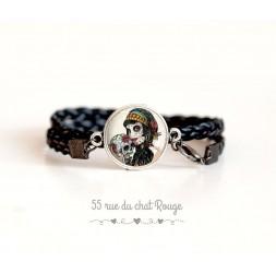 Bracelet manchette gothique, La muerta, noir et rouge