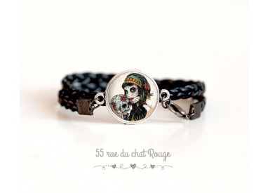 Gothic cuff bracelet, La muerta, black and red