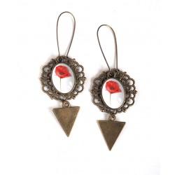 Boucles d'oreilles pendentifs, Cabochon Fleur de Coquelicot rouge