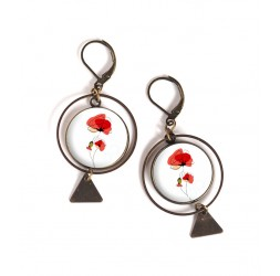 Earrings, round, Poppy flower