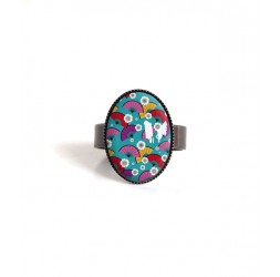 Small cabochon ring, Japanese inspiration, black and yellow wave