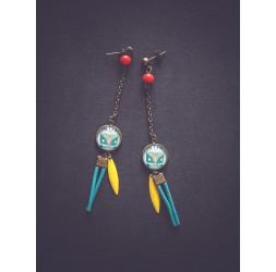 Earrings, Summer 21, Van, Blue and yellow