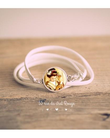 Bracelet manchette simili cuir blanc, cabochon Geisha, Japon, beige marron