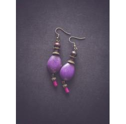 Earrings, dangling, purple Howlite, bronze